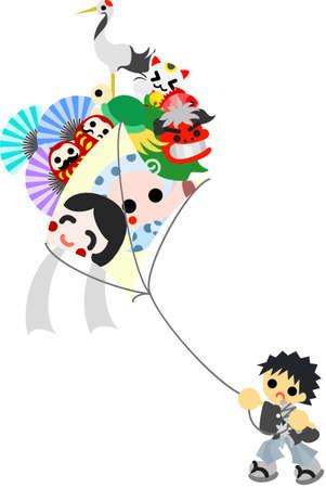 豪華な装飾の非常に大きな凧