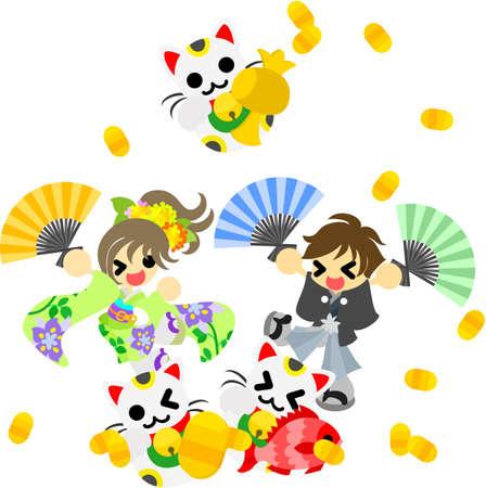 se�al de silencio: El hombre y la mujer en la ropa japoneses est�n celebrando el A�o Nuevo, y bailando con se�as gatos