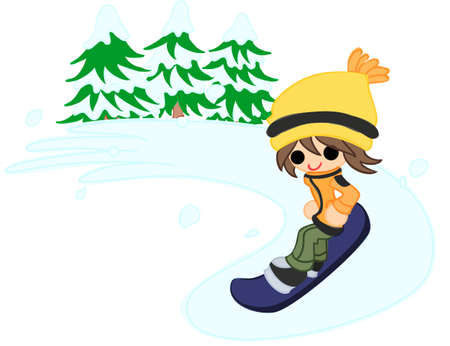 lightly: The boy who slips on the snowboard lightly  Illustration
