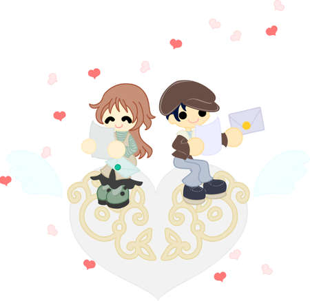 confess: The couple who reads the letter which are changed each other on an art object of white heart  Illustration