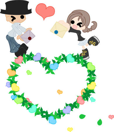 to confess love: A girl and her father who change a letter each other on a wreath of the heart