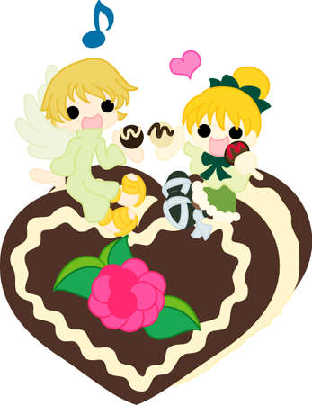 A girl and an angel who eat chocolates on the heart of the chocolate cake  Vector