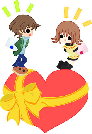 to confess love: A boy and girl is going to hand a letter each other on the red heart