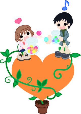confess: On the orange heart, a father and his daughter changes colorful candy each other