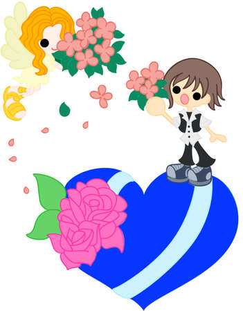 confess: On blue heart, an angel with a bouquet went down