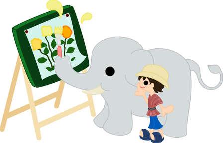 花の写真と見て象トレーナーを絵画象  イラスト・ベクター素材