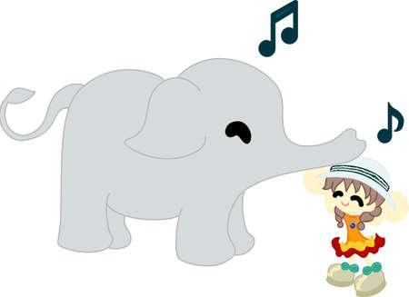 象をカバーする帽子をかぶった小さな女の子