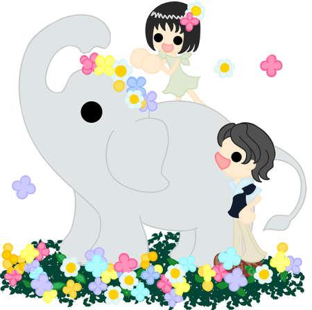 フラワー ガーデンとカローラを与える少女の上を歩く象