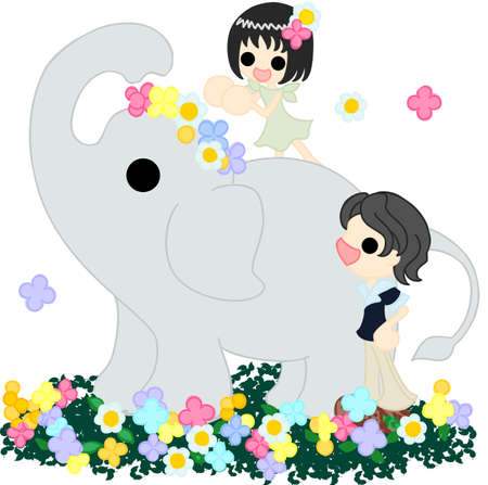 corolla: An elephant walking on the flower garden, and a girl giving a corolla
