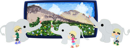 Three elephants are painting a big landscape picture   イラスト・ベクター素材
