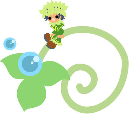 young leave: The fairy of a young leave symbolizing environment and nature  Illustration
