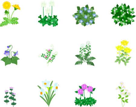 春の花の 12 のアイコン