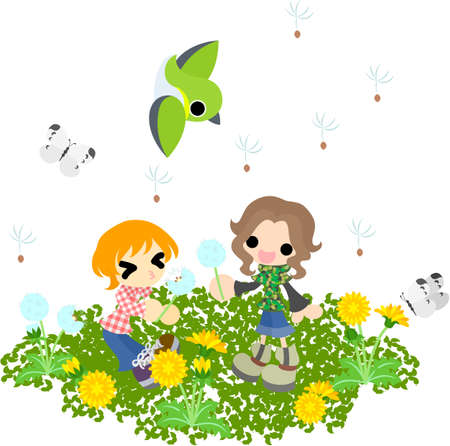 Children flying seeds in the field where the dandelion blooms  Vector