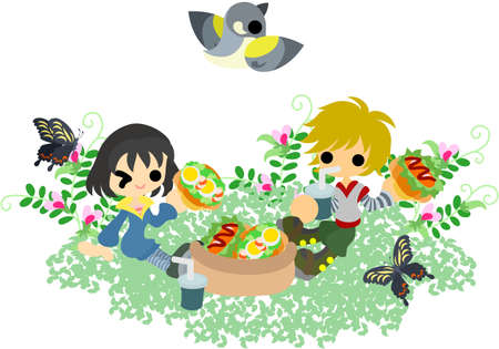 eats: The man and woman who eats a sandwich in the field of the vetch  Illustration
