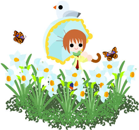 sunshade: The woman who puts up my sunshade, and walks the flower garden of the narcissus