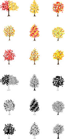 suggesting: Icons of the trees of colored leaves suggesting autumn