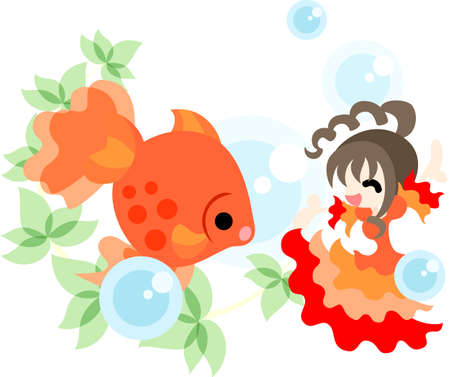luxuriance: A girl in the red dress which is dancing with a goldfish splendidly