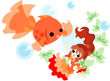 waterweed: A girl in the red dress which is dancing with a goldfish splendidly