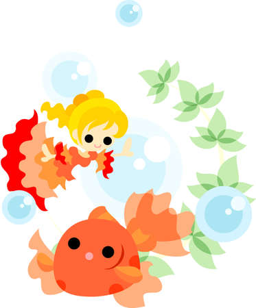 A girl in the red dress which is dancing with a goldfish splendidly  Vector