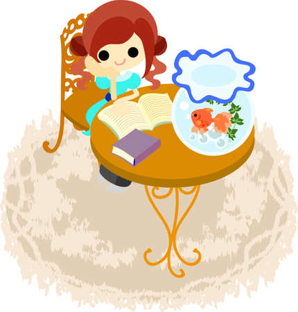The girl who enjoys reading with a goldfish Stock Vector - 28909134
