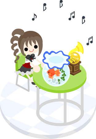 The girl who listens to music with a goldfish at a green table Stock Vector - 28909136