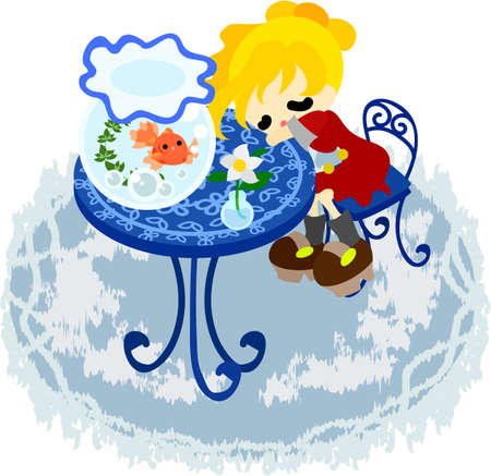 The girl who sleeps at a blue table that a goldfish basin was put  Vector