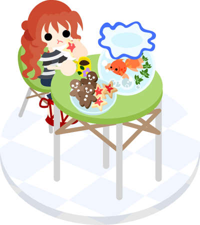 eats: The girl who eats cookies while looking at a goldfish basin on a green table