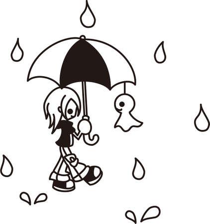 A boy is walking in the rain  Vector