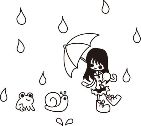 A girl is walking in the rain  Vector