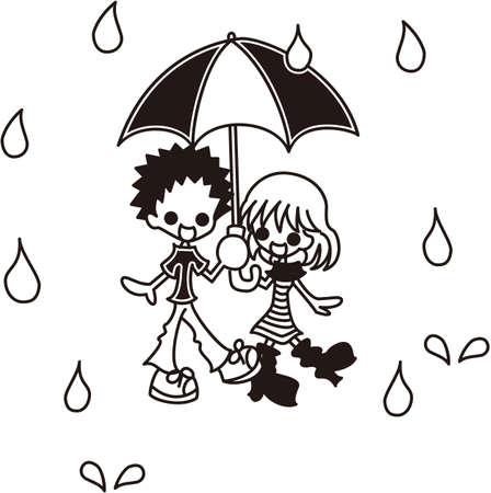 A boy and a girl in the rain  Vector