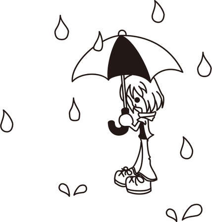 A girl standing in the rain Vector