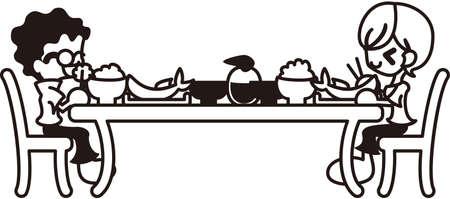 pareja comiendo: Una pareja es comer la cena que comen arroz, sopa y pescado Vectores