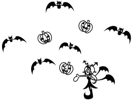 manipulating: A devil girl manipulating bats and Jack-o-lantern. Illustration