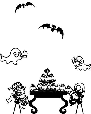 pleasant: A pleasant party that a mummy boy and a vampire girl, ghosts and bats are eating pumpkin cupcakes!