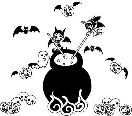 jack pot: Today is Halloween.A devil boy and girl is boiling and simmering  medicine mystery. Illustration