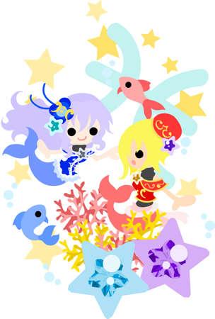 魚座の星占いのイメージを反映したの図。  イラスト・ベクター素材