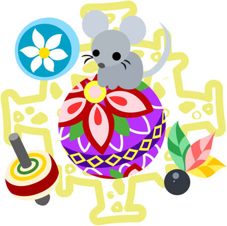 which one: The illustration of the mouse which is usable for the one point of greeting cards. Illustration