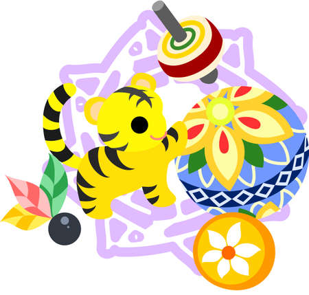 which one: The illustration of the tiger which is usable for the one point of greeting cards. Illustration