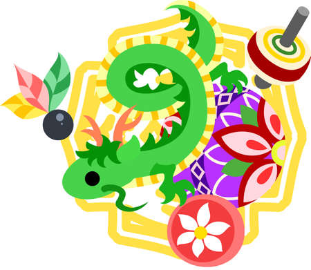 which one: The illustration of the dragon which is usable for the one point of greeting cards.