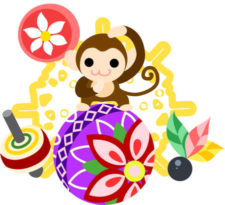 which one: The illustration of the monkey which is usable for the one point of greeting cards. Illustration