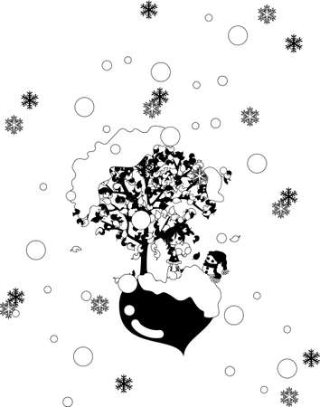 snows: St. Valentine \ s Day when it snows. A girl to wait impatiently for with a snowman.