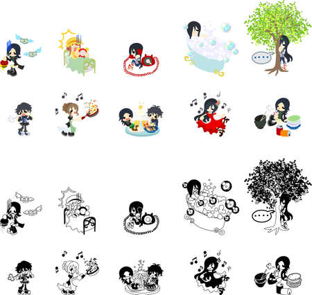 little girl bath: The people icon which is usable in message memos Illustration