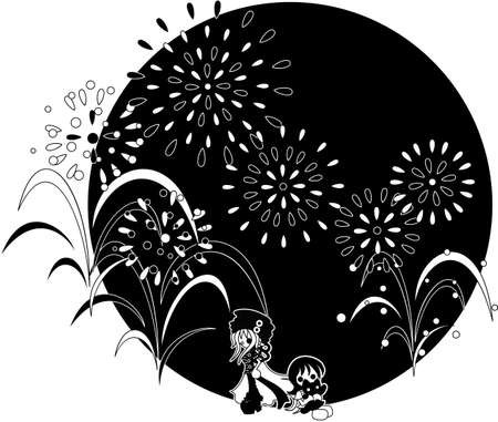 midsummer: The night of the midsummer when big fireworks are whirled up. A pretty cat is enjoying to see the fireworks together.