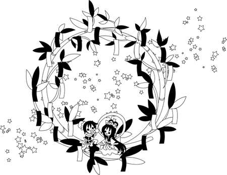 meet up: Two people who can meet only once a year. Let  's talk about the various things today while looking up at the stars. Illustration