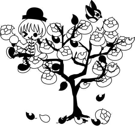 persimmon: A boy climbs the persimmon tree and eats a persimmon.