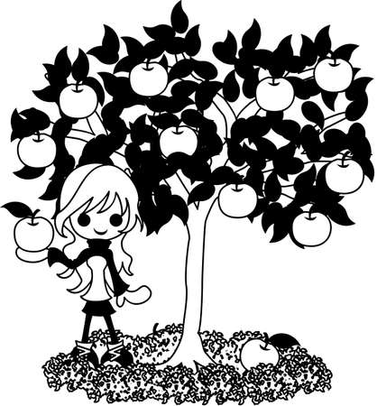 pear tree: A girl who stands still under the pear tree. Illustration