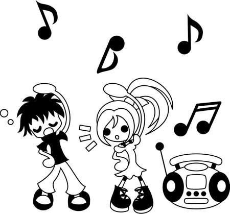 A boy and girl who exercises practiced to commands and music on the radio.