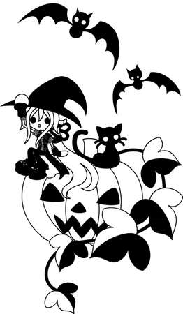 A magician girl and a black cat are sitting on the big jackolantern. Vector