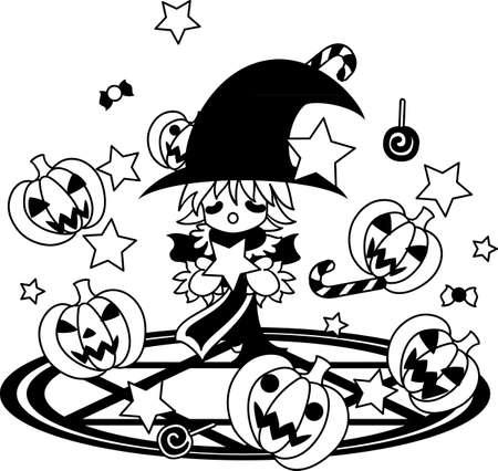 advocates: A boy advocates magic on magic square. A jackolantern appeared with sweets.