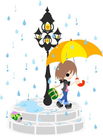 rains: The girl who walks the town where it rains in a season of the rainy season